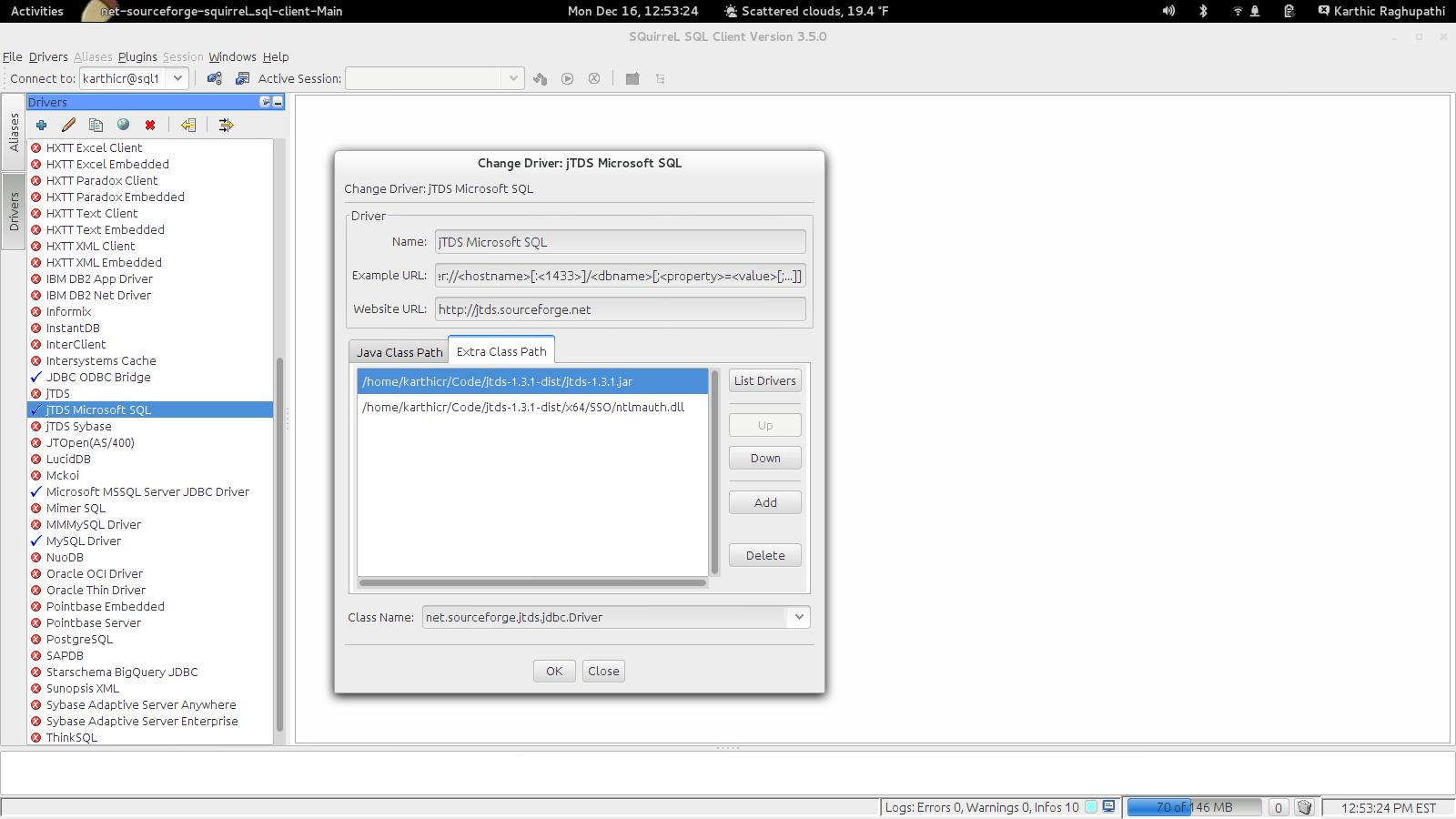 Screenshot of configuring SquirrelSQL